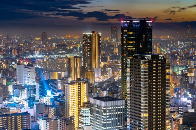 梅田藍天大廈空中庭園眺望而出的大阪夕景