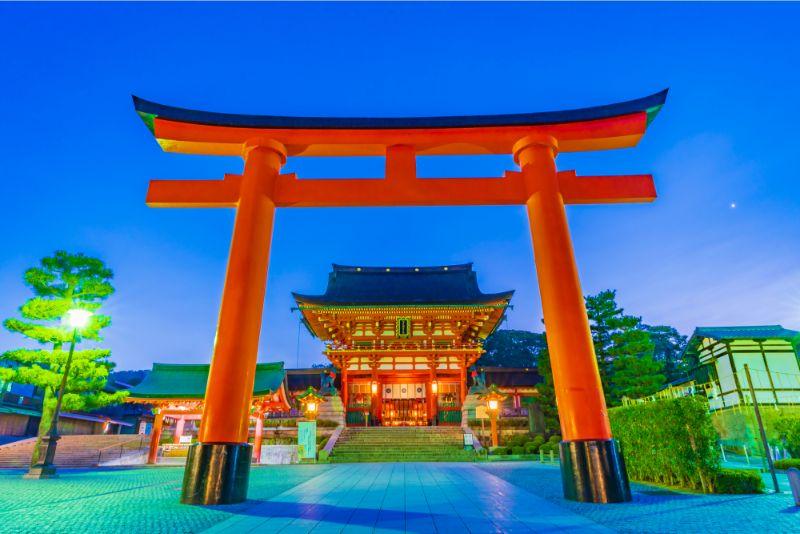 京都伏見稻荷大社的鳥居及樓門