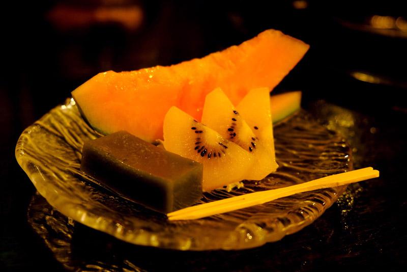抹茶羊羹與水果