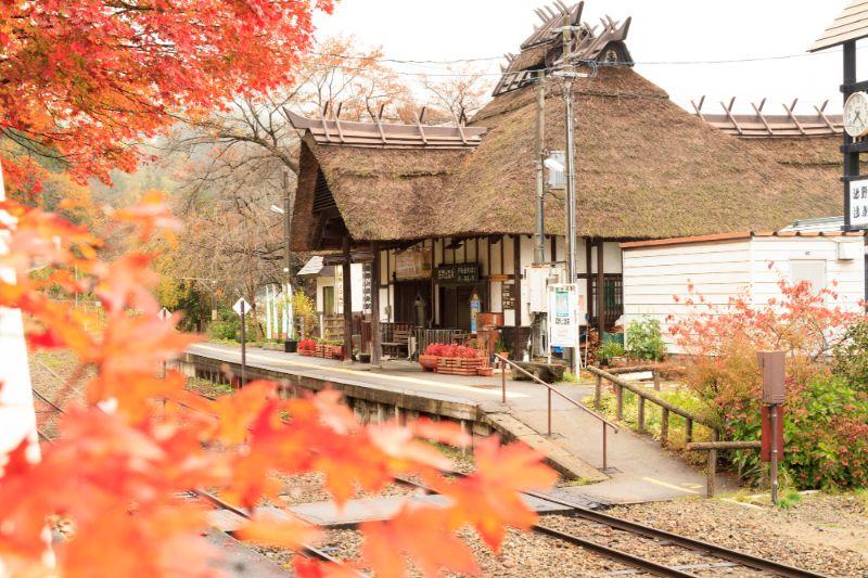 楓紅與「湯野上溫泉站」