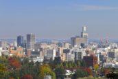 秋天的仙台市全景