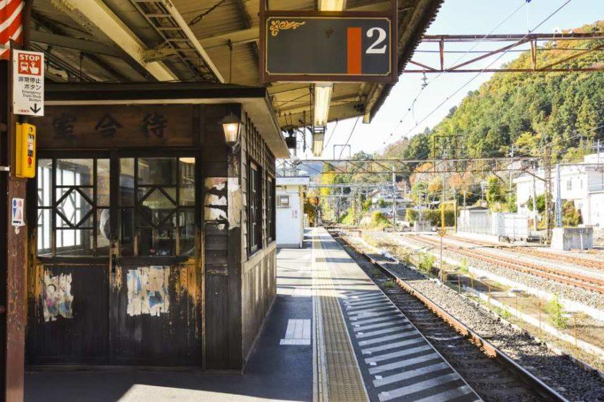 位於青梅車站月台內的復古候車室